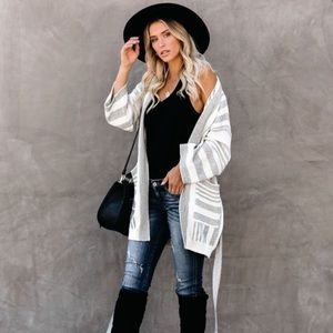 Pocketed Striped Cardigan